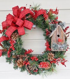 Christmas Wreath, Cardinal Birdhouse Wreath, Winter Wreath, Pine Cone Wreath, Rustic Wreath, Berry Wreath, Red Wreath, White Christmas   ~Small Cardinal Bird House Christmas Wreath~  Perfect for that White Christmas, this 17.5 round pvc and mixed artificial greens wreath is adorned with foam berry sprigs and natural pine cones. An adorable wood and fiber cardinal bird house ornament is nestled in the branches off to the side of this lovely winter wreath. A woven rustic red tone gingham bow…