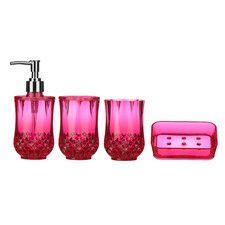 black and pink bathroom accessories. Cristallo 4 Piece Bathroom Accessory Set Black And Pink Bathroom Accessories A
