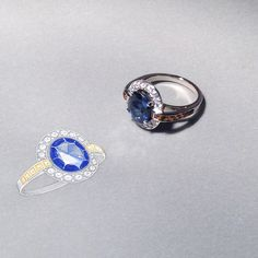 Bespoke sapphire and citrine ring, inspired by Art Deco. Pictured next to the working drawing.