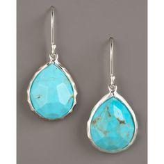 Ippolita Turquoise Teardrop Earrings, Small ($350) ❤ liked on Polyvore