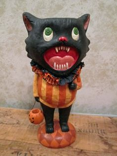 This Cat is often Howlin' at the Moon. He makes a great display piece, and is a cute vintage style container. Measuring 15 tall this cat can hold all of your Halloween goodies in his head. Classy Halloween, Halloween Goodies, Candy Containers, Weird And Wonderful, Halloween Decorations, Halloween Ideas, Macabre, Vintage Fashion, Vintage Style