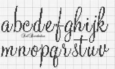 Lower case script alphabet.