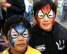 spiderman blue and red facepaint