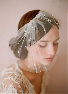 voile de mariage / coiffure de cheveux fantastique en tulle & perle blanc de lait