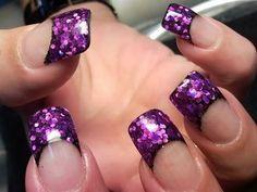 purple french nail tips French Nail Tips