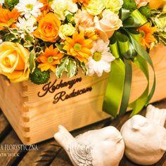Skrzynka Kwiatowa Podziękowanie Rodzicom Ślub Wesele Box kwiatowy Kosz Kwiatowy