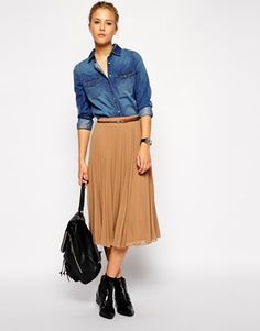 A cool look from Asos featuring the ASOS Pleated Midi Skirt