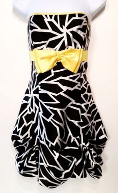 JESSICA MCCLINTOCK FOR GUNNE SAX Black White Yellow Bow Lined Dress Size 7 #JESSICAMCCLINTOCKFORGUNNESAX #Bubble #Formal http://www.ebay.com/itm/JESSICA-MCCLINTOCK-FOR-GUNNE-SAX-Black-White-Yellow-Bow-Lined-Dress-Size-7-/381310425196