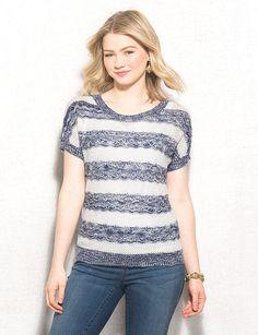 Striped Marled Short Sleeve Sweater
