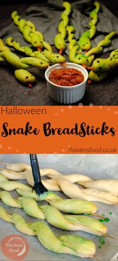 These Spooky Snake Breadsticks make a perfect addition to your Halloween Party Food table. A great healthy appetiser idea to surprise the kids and grown-ups alike. Step by step recipe to make your own breadsticks and how to shape and decorate them into snakes. Serve with your choice of sauce to dip your serpent into. Also great for Harry Potter or reptile themed party food. Harry Potter Snacks, Harry Potter Day, Harry Potter Marathon, Harry Potter Birthday, Harry Potter Theme Food, Harry Potter Themed Party, Halloween Dinner, Halloween Food For Party, Halloween Horror