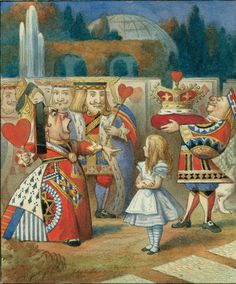 """""""'Who is this?' She said it to the Knave of Hearts, who only bowed and smiled in reply. 'Idiot!' said the Queen, tossing her head impatiently; and turning to Alice she went on: 'What is your name, child?' 'My name is Alice, so please your Majesty,' said Alice very politely"""" Illustration: Sir John Tenniel/"""