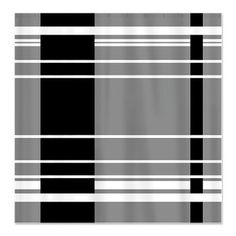 Elegant Grey Shower Curtain With Black and White Stripes
