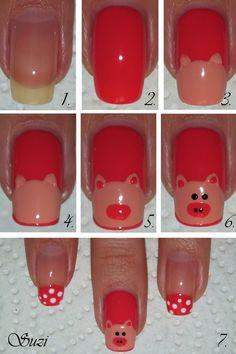 Pig Nails --Tutorial Amazing And Useful Nail Tutorials Stone Nails, Cute Nails, Pretty Nails, Pig Nails, Nail Art Designs, Hot Pink Nails, Animal Nail Art, Nails For Kids, Girls Nails