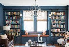 Bildresultat för platsbyggd bokhylla runt fönster