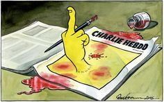Front page of The Independent. Illustration by Dave Brown, Charlie Hebdo attack Arnold Schwarzenegger, The New Yorker, Caricatures, Satire, Die Unfassbaren, Attentat Paris, Anne Sinclair, Dave Brown, Newspaper Front Pages