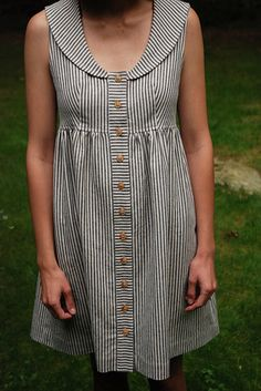wiksten indigo stripe dress  Recreate with washi + Peter Pan collar. Must do stripes like this. Amazing.