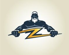 As with the bear design I discussed, this image creates a strong sense of power and intimidation for a sports team looking to strike fear in the hearts of their opponents. The use of the lightning bolt as a 'Z' is clever and the color contrasts wonderfully against the dark blue of the god.