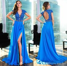 New Arrival 2016 Gorgeous Blue Split Prom Dresses Sexy Deep V Neck Open Back Beaded Chiffon Floor Length A Line Evening Party Gowns Poofy Prom Dresses Prom 2015 Dresses From Dmronline, $137.09| Dhgate.Com