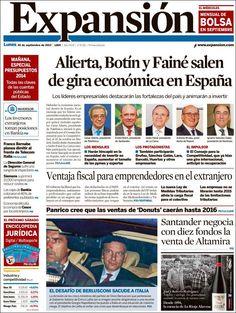 Los Titulares y Portadas de Noticias Destacadas Españolas del 30 de Septiembre de 2013 del Diario Expansión ¿Que le pareció esta Portada de este Diario Español?