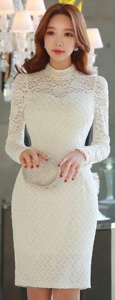 StyleOnme_Pearl Neckline Floral Lace Dress #white #elegant #feminine #floral #lace #dress #koreanfashion #seoul #kstyle #kfashion #pearl