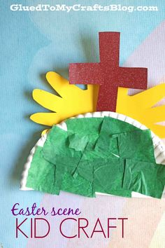 Whether for Sunday school or an Easter morning event - today's Paper Plate Easter Scene kid craft idea is sure to be loved by all! sunday school crafts Paper Plate Easter Scene - Kid Craft Idea For Sunday School Easter Crafts For Toddlers, Easter Activities, Toddler Crafts, Preschool Crafts, Kid Crafts, Easy Crafts, Cork Crafts, Canvas Crafts, Space Crafts