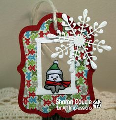 Art Impressions Ai Mini Front & Backs.  Snowman and Penguin set.  Handmade Christmas tag with snowflake.