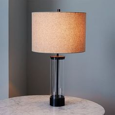 "Acrylic Column Table Lamp - Antique Bronze (not black) 14""diam. x 25""h $135/$169"