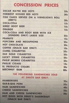 INFLATION: The price of concessions in Philadelphia's #Shibe_Park, Home of the Phillies, in 1950