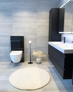 Finally, our bathroom is finished We have selected tiles in classic colors and fixtures . Ral Colours, Muted Colors, Unique Colors, Dere, Polished Concrete, Home Spa, Tiles, Bathtub, It Is Finished