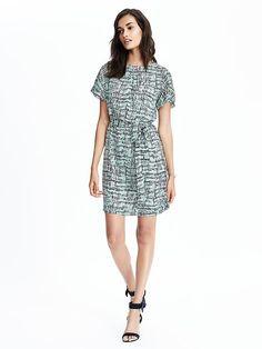 Pleated Neck-Tie Waist Dress