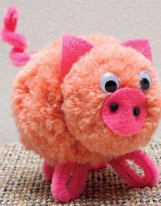 Modèle cochon en pompons