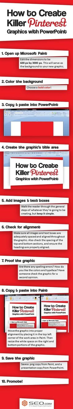 Learn how to use PowerPoint to create killer Pinterest Graphics! This post gives you great step-by-step instructions so that you too can be a graphic designer! It's a lot simpler than you think! #Pinterest #Graphics #HowTo #Infographic