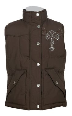 Cowgirl Hardware® Girls Brown with Rhinestud Winged Cross Vest