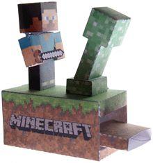 Papercraft imprimible y armable de Minecraft con movimiento. Manualidades a Raudales.