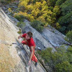 """Ready, set, go! """"Red lightning"""" Ben Rueck is on his way to the top of """"Cosmic Debris"""" (5.13b/8a) in Yosemite. Photo: Jeff Rueppel #livewithoutlimits #terrex #climbing"""