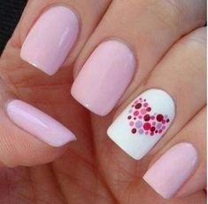 Heart Nail Art Designs And Ideas Valentine's Day Nail Designs, French Nail Designs, Nails Design, Pedicure Designs, Dots Design, Design Art, Design Ideas, Polka Dot Nails, Polka Dots