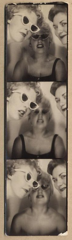 GIRLFRIENDS in the BOOTH w SUNGLASSES vtg PHOTBOOTH ARCADE STRIP photo