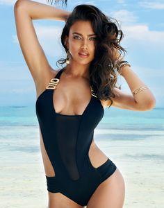 Irina Shayk in Beach Bunny BLACK BEAUTY Monokini for Summer 2014