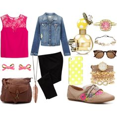 """pink yellow"" by victoria-publicover on Polyvore"