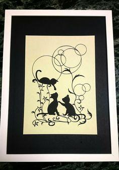 ≪kominchu様用≫ 3匹家族ネコ ver.1 黒色 原画