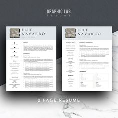 2 Page Resume Sample Impressive Resume Template One Page  Curriculum Vitae  One Page Resume  Two .