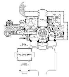 The Caserta mansion house plan basically has 3 houses within sq ft. This Mediterranean house plan has 5 extravagant bedrooms with plenty of entertainment areas Luxury House Plans, Dream House Plans, House Floor Plans, Dream Houses, Built In Dresser, Mountain House Plans, Monster House Plans, House Blueprints, Mediterranean Homes