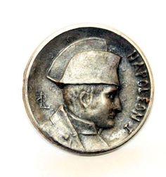 "ButtonArtMuseum.com - Antique Signed Louis Rault Picture Button Napoleon 1 Almost 1"" Pewter Cast 195"