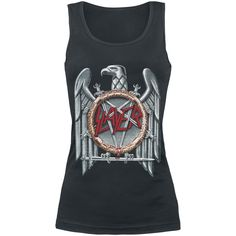 "Top donna nero ""Eagle"" degli #Slayer con scollo tondo e stampa frontale."