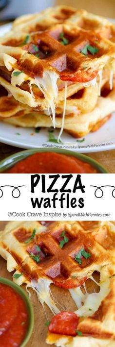 Waffles - With just 3 ingredients! These yummy waffles take just a few minutes to make and are easy, cheesy and crazy good!Pizza Waffles - With just 3 ingredients! These yummy waffles take just a few minutes to make and are easy, cheesy and crazy good! Yummy Waffles, Savory Waffles, Waffle Maker Recipes, Snacks, Love Food, Breakfast Recipes, Breakfast Ideas, Breakfast Pancakes, Vegan Breakfast