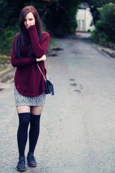 A casual winter outfit :) Purple poloneck sweater with zebra print skirt, sheer tights, over the knee socks and ankle boots