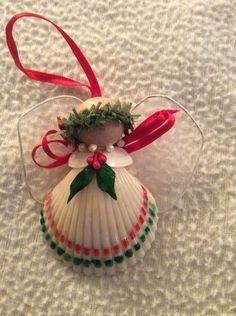Christmas DIY: Shell Handmade Angel Shell Handmade Angel Christmas Ornament - Famous Last Words Seashell Christmas Ornaments, Christmas Angels, Christmas Holidays, Christmas Decorations, Coastal Christmas, Angel Ornaments, Christmas Projects, Holiday Crafts, Holiday Ideas