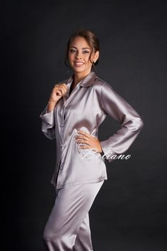 Купить Шелковая женская пижама (женские пижамы) цвет бледный аметист. Пижама из шелка аметистовая (бледная сирень)