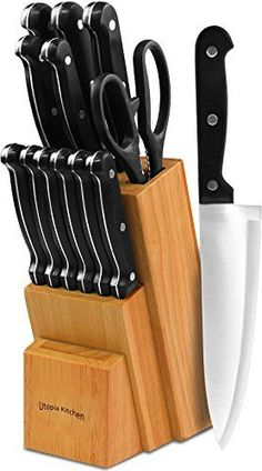 Knife Set with Wooden Block 13 Piece  Chef Knife Bread Knife Carving Knife Utility Knife Paring Knife Steak Knife and Scissors -- Learn more by visiting the image link.Note:It is affiliate link to Amazon. #60likes