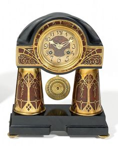 ART NOUVEAU PENDULE. Erhard & Söhne - attributed. Ebonised,ca.1910.